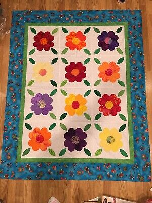 Unfinished quilt top Fun ,Bright For Any Littler Girls Bed Room 61 1/4 X 49 1/4
