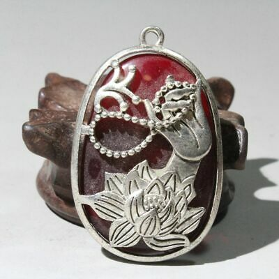 Collectable China Old Miao Silver Mosaic Agate Buddha Hand & Lotus Lucky Pendant