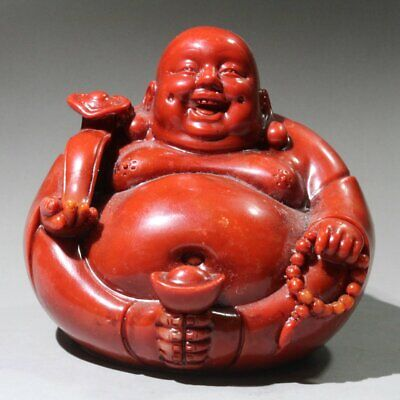 AAA Collect China Old Shoushan Ston Hand-Carved Smile Buddha Bring Wealth Statue