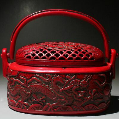 Collectable China Red Coral Hand-Carved Dragon Noble Warm Hand Incense Burner