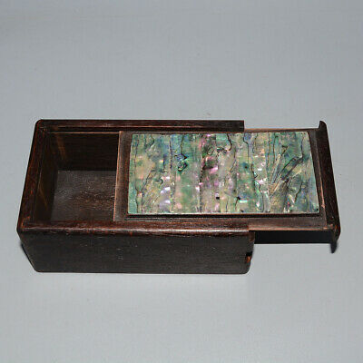 Collectable Chinese Old Boxwood Inlay Handwork Carve Shell Delicate Storage Box