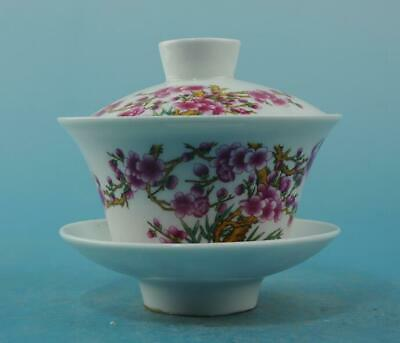 Chinese old porcelain famille rose plum blossom pattern teacup 46