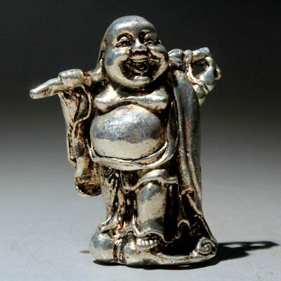China Collectable Old Miao Silver Carve Paunchy Buddha Interesting Lovely Statue