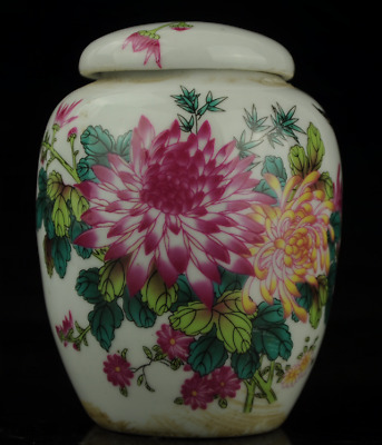 china old hand-made famille rose flower pattern porcelain pot b02