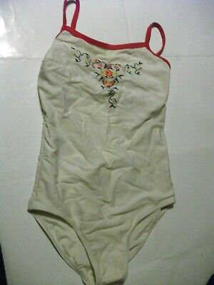 Girls House of Fraser off white floral embroidered Swimsuit Age 10YRS