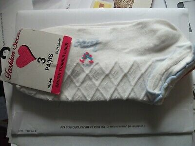 3 x Pairs Girls Trainer Liner Ankle Cotton Rich White, Blue Pink & yellow trim