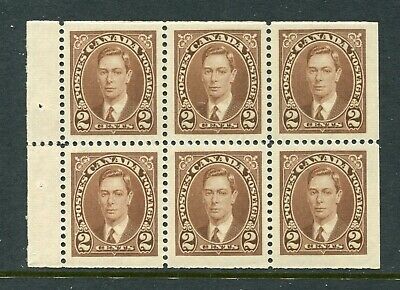 CANADA Scott 232b - NH - 2¢ Brown King George VI Mufti Booklet Pane of 6 (.016)