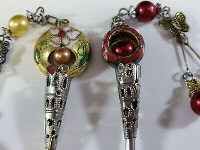 Antique Vintage Victorian Cloisonne Beaded Hat Hair Pin Lot Butterfly Flowers