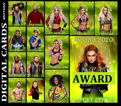 Topps Wwe Slam Card Trader Spring 2020 [Set 13 Motion Cards] + Award Becky Lynch
