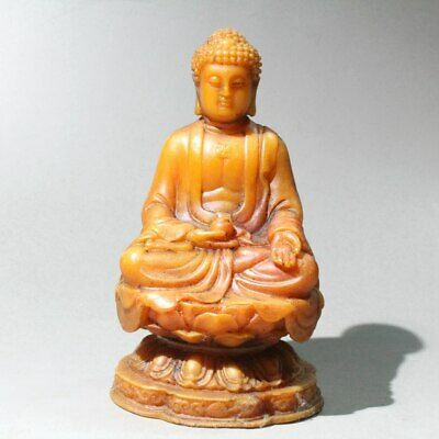 Collect China Shoushan Ston Hand-Carved Auspicious Buddha Noble Delicate Statue