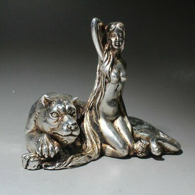 Chinese Collectable Handwork Miao Silver Carve Beauty And the Beast Rare Statue