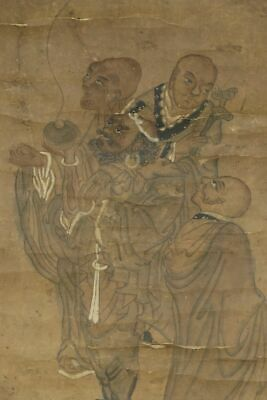 "CHINESE HANGING SCROLL ART Painting ""Arhats"" Asian antique  #E2011"