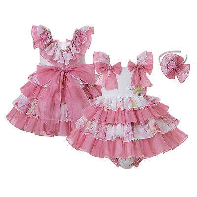 Romany Baby Girl Floral Dress With Knickers Princess Party Christening Prom Pink