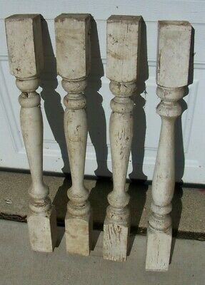 "(4 PCS)  Antique 24"" X 2.5"" Victorian Wooden Spindle Balusters"