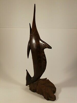 "Vintage Hand Carved Ironwood Swordfish.  Wood carving art piece.  12.5"" tall."