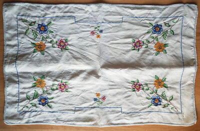 Traycloth, Chinese embroidered, vintage