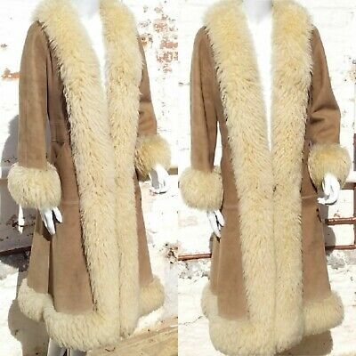 Amazing Authentic Vintage Suede & Shearling Penny Lane Long Fur Coat 6 8 10