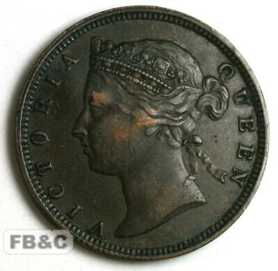 1878 Mauritius Two Cents Coin KM#8 Queen Victoria - Better Grade - Low Mintage