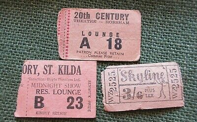 Circa 1950's Three Ticket Stubs Horsham Theatre St. Kilda Hoyts Skyline Drive-In
