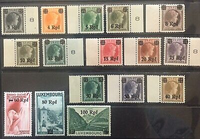 Germany 1940 Occupied Luxemburg O/P on Luxemburg issues MNH