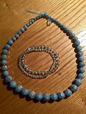 Girls MONSOON Accessorize blue necklace and bracelets jewellery