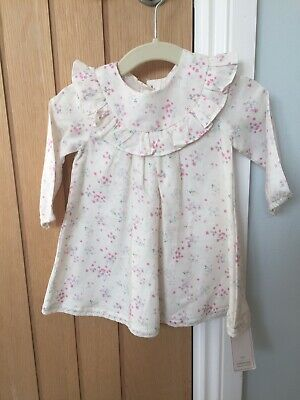 BNWT Mothercare Baby Girls Pink And White Floral Ditsy Dress Age 3-6 Months