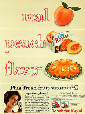 Vintage 1962 Royal Peach fruit Gelatin advertisement print ad art