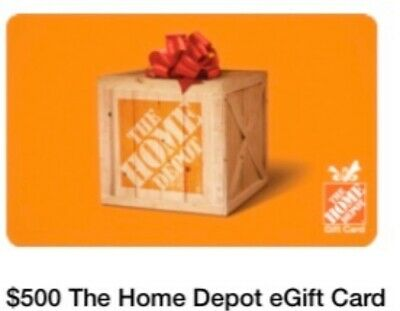 One $500 Home Depot Gift Card FREE PRIORITY SHIPPING No Reserve