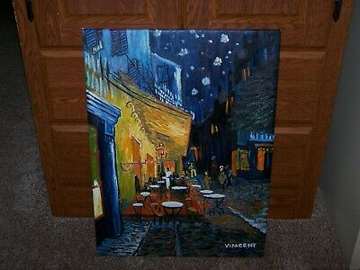 """Vincent Signed """"Cafe Terrace at Night"""" Van Gogh Reproduction Oil On Canvas"""