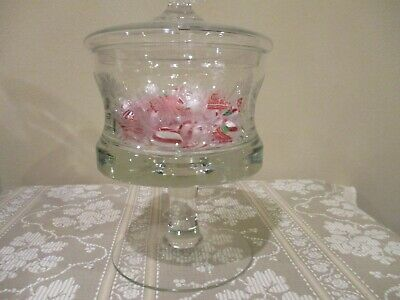 """Vtg Crystal Floral Etched Pedestal Candy Dish with Lid 10"""" Tall (2pcs)"""