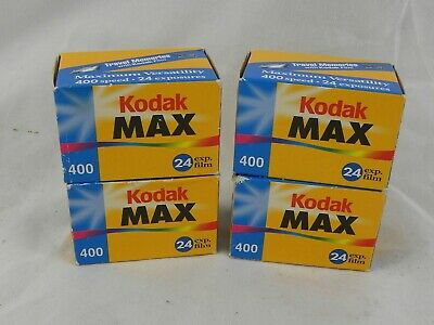 4 Rolls of Kodak MAX 400 ISO 35mm Film 24 Exposures Expired Sealed