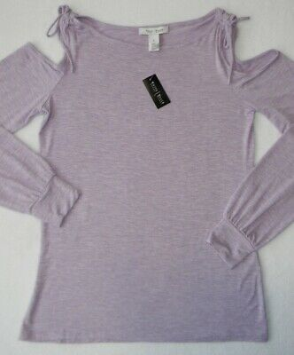 White House Black Market Purple Rose Long Sleeve Cold Shoulder Top Women's Small