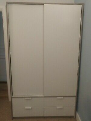 Wardrobe Double Sliding Doors (White with Grey trim) Large/Modern with Drawers