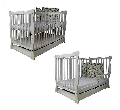 NEW Wooden Baby Cot Bed with GUARD RAIL and DRAWER!!! Mattress Optional. White.