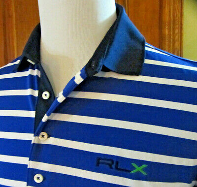 EUC RLX Ralph Lauren Mens L Large Blue White STRIPED S/S Stretch GOLF Polo LOGO