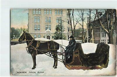 CANADA 1909 1c ON MONTREAL TYPICAL SLEIGH PPC TO GB