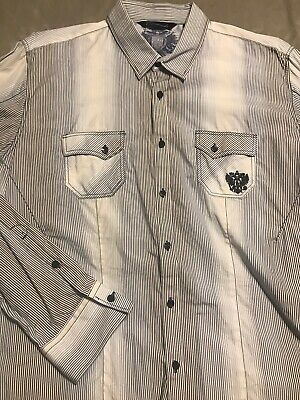 7 Diamonds Dress Shirt Mens Blue / White Vertical Stripe Western Style XXL