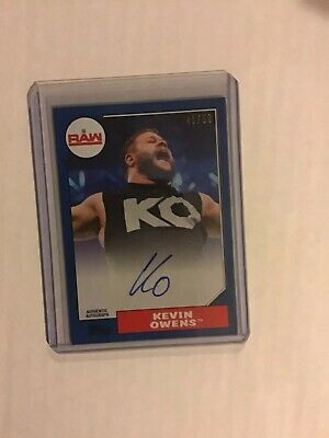 2017 Topps Wwe Heritage Blue Auto On Card Kevin Owens 41/50