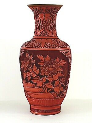 """Cinnabar Red Laquered Carved 10"""" Chinese Vase Brass Vintage Peony"""