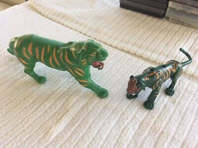 MOTU Lot green BATTLE CAT yellow striped tiger panther figure animal He-Man 1982