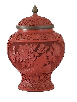 """Cinnabar Red Laquer Carved 9"""" Chinese Covered  Ginger Jar Vintage w Blue Enamel"""