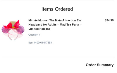 Disney Minnie Mouse Main Attraction March 2020 Mad Tea Party Ears