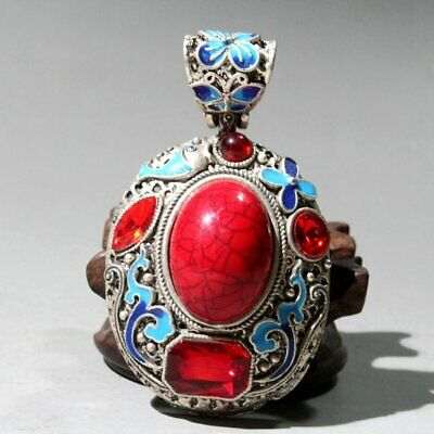 Collect China Old Miao Silver Cloisonne Hand-Carved Auspicious Delicate Pendant
