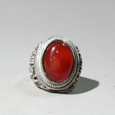 Collectable Chinese Old Miao Silver Mosaic Agate Hand-Carved Delicate Noble Ring