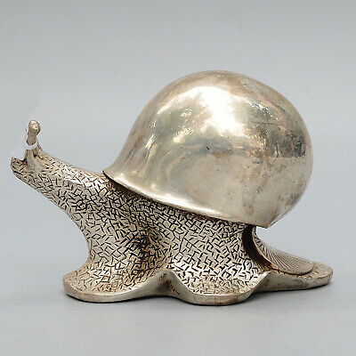 Collectable Qianlong Years Old Miao Silver Handwork Carve Snail Delicate Statue