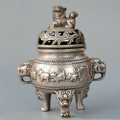 Collectable China Old Miao Silver Carve Lion 12 Chinese Zodiac Incense Burner