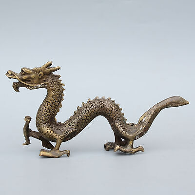 Qianlong Years Collectable Old Bronze Hand-Carved Myth Dragon Exorcism Statue