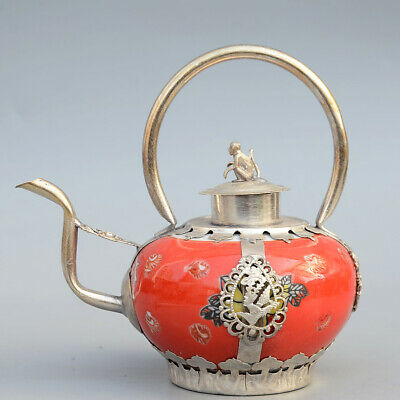 Collectable Miao Silver Porcelain Painting Flower Carve Monkey Dragon Teapot