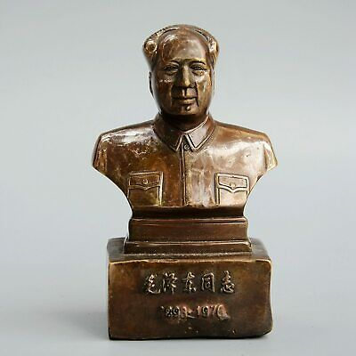 Collectable Old Bronze Hand-Carved China's President Mao Zedong Precious Statue