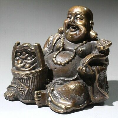 China Collect Old Bronze Hand-Carved Buddhism Buddha & Wealth Auspicious Statue